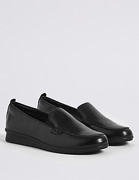 Leather Wedge Heel Stitch Detail Loafers
