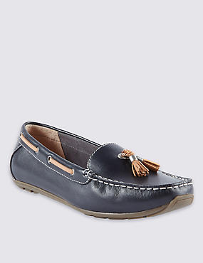 Wide Fit Leather Tassle Boat Shoes