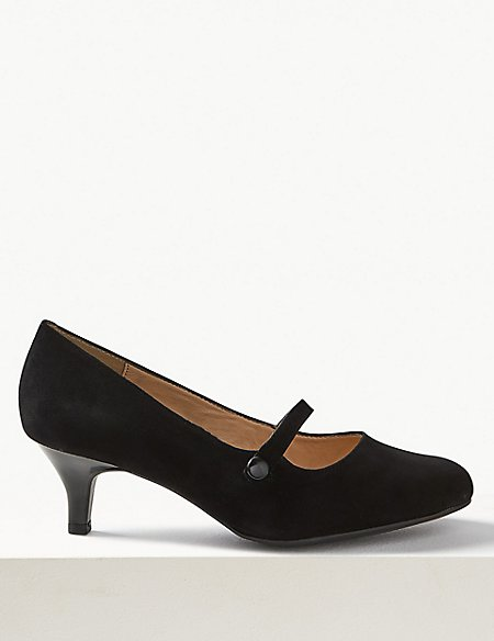 Wide Fit Suede Kitten Heel Court Shoes | Footglove™ | M&S