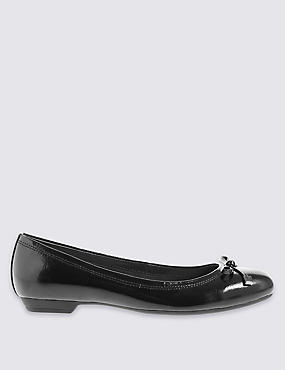 Wide Fit Leather Bow Pump Shoes
