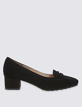Wide Fit Suede Block Heel Court Shoes