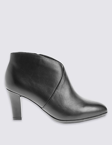 Wide Fit Leather Angular Heel Shoe Boots