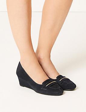 Wide Fit Suede Wedge Heel Court Shoes, NAVY, catlanding