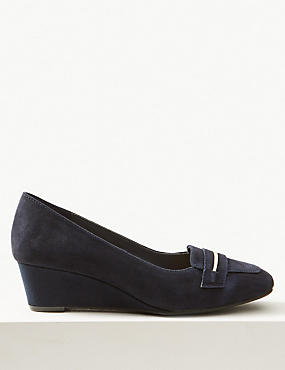 Wide Fit Leather Wedge Heel Court Shoes