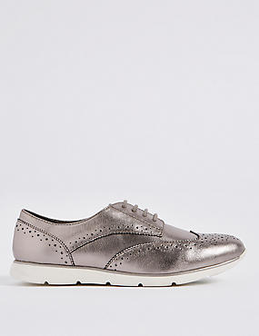 Wide Fit Leather Block Heel Brogue Shoes