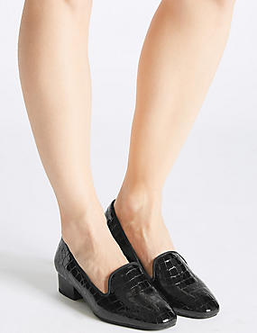 Wide Fit Leather Block Heel Pump Shoes