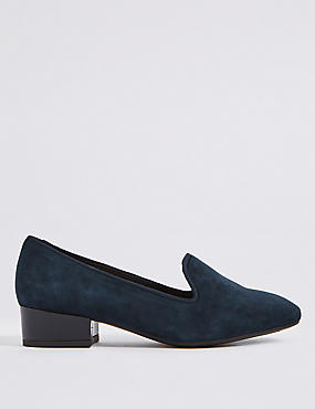 Wide Fit Suede Block Heel Pump Shoes