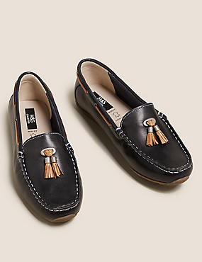 Wide Fit Leather Boat Shoes, NAVY, catlanding