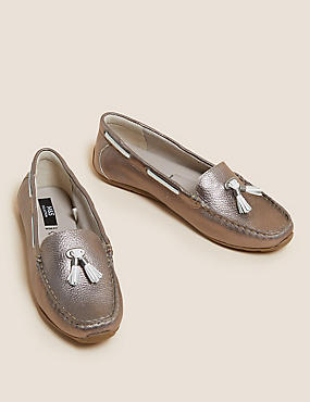 Wide Fit Leather Boat Shoes, METALLIC, catlanding