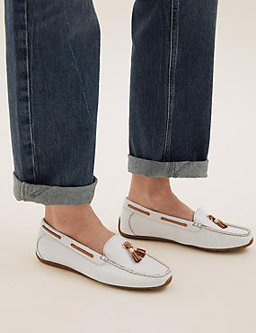 Wide Fit Leather Boat Shoes, WHITE, catlanding