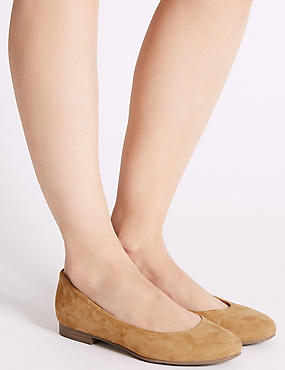 Wide Fit Leather Ballet Pumps, OCHRE, catlanding