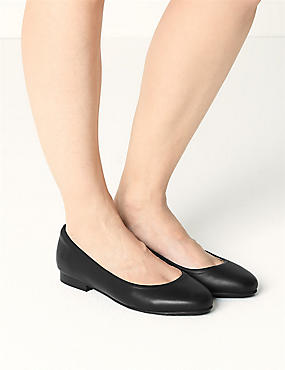 Wide Fit Leather Ballet Pumps, BLACK, catlanding