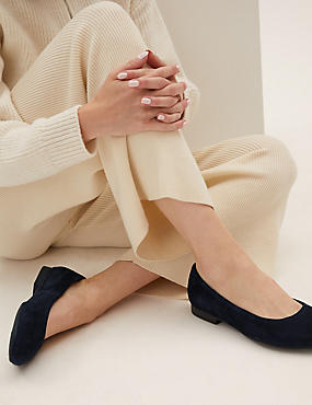 Wide Fit Suede Ballet Pumps, NAVY, catlanding