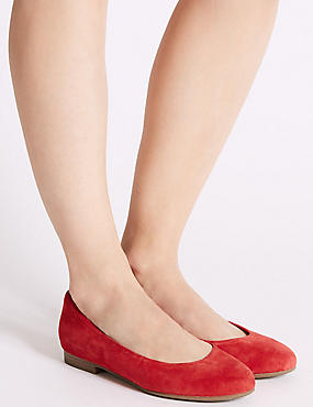 Wide Fit Suede Ballet Pumps, FLAME, catlanding