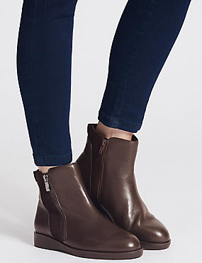 Suede Side Zip Ankle Boots