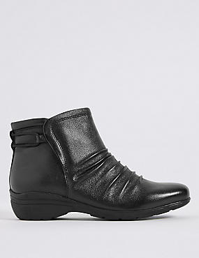 Leather Elastic Ruched Ankle Boots