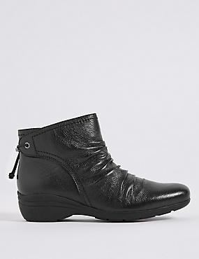 Leather Wedge Heel Ruched Ankle Boots