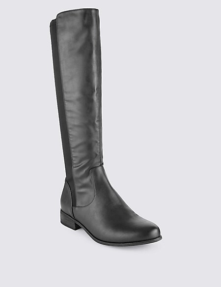 Block Heel Riding Knee High Boots