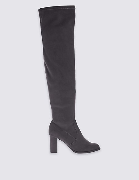 Block Heel Over the Knee High Boots