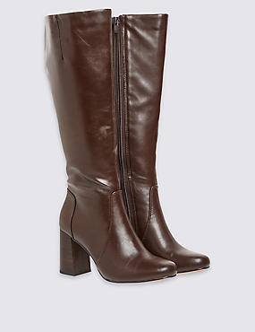 Flared Heel Knee High Boots with Insolia®