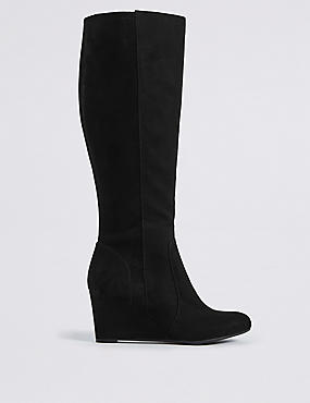 Wedge Heel Side Zip Knee High Boots
