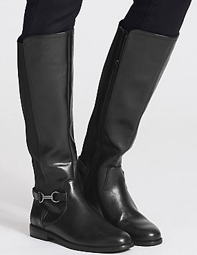 Block Heel Side Zip Knee High Boots