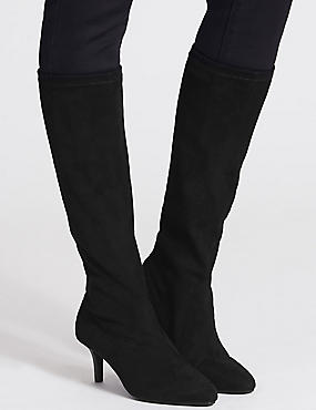 Kitten Heel Pointed Stretch Knee Boots