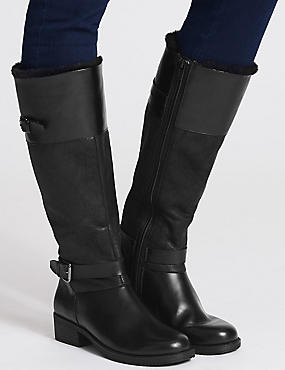 Block Heel Fur Lined Knee High Boots