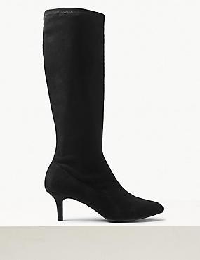 Kitten Heel Knee Boots, BLACK, catlanding