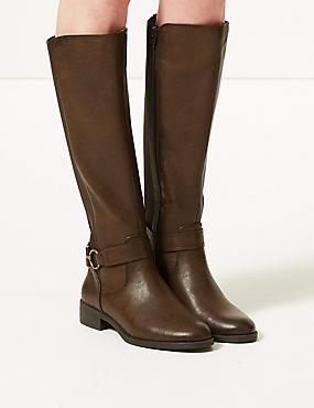 Block Heel Side Zip Knee Boots , CHOCOLATE, catlanding