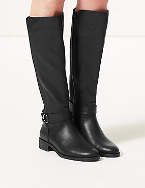 Block Heel Side Zip Knee Boots , BLACK, catlanding