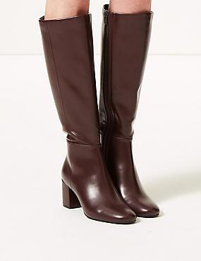 Block Heel Knee Boots, BURGUNDY, catlanding
