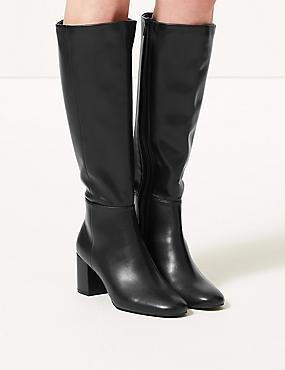 Block Heel Knee Boots, BLACK, catlanding