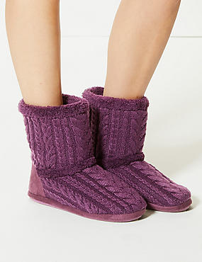 Cable Knit Slipper Boots , PURPLE, catlanding
