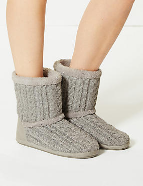 Cable Knit Slipper Boots , GREY, catlanding