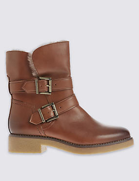 Wide Fit Leather Ankle Boots with Footglove™
