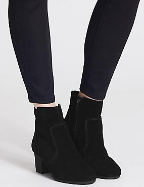 Leather Block Heel Crepe Effect Ankle Boots