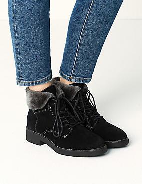 Wide Fit Suede Block Heel Ankle Boots, BLACK, catlanding