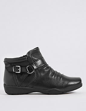 Wide Fit Leather Side Zip Ruched Ankle Boots