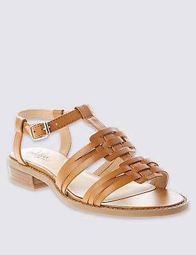 Leather Stripy Flat Sandals