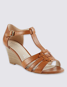 Leather Wide Fit Wedge Gladiator Sandals