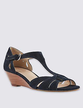 Leather T-Bar Wide Fit Wedge Sandals
