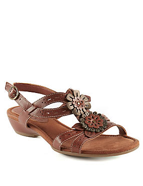 Leather Floral Punch Hole Wide Fit Sandals