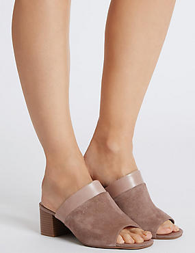 Wide Fit Suede Block Heel Mule Sandals