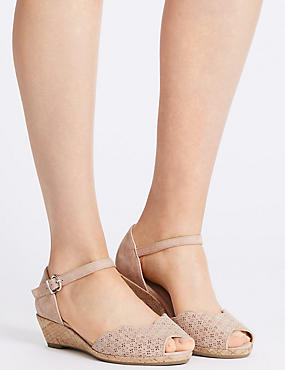 Wide Fit Suede Wedge Heel Sandals