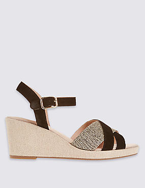 Wide Fit Suede Slotted Wedge Sandals