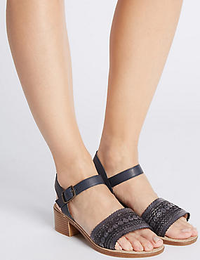 Wide Fit Leather Block Heel Sandals