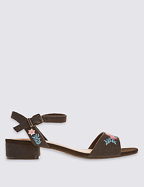 Wide Fit Block Heel Embroidered Sandals