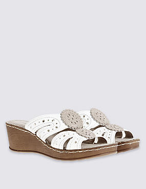Wide Fit Leather Wedge Heel Slip-on Sandals