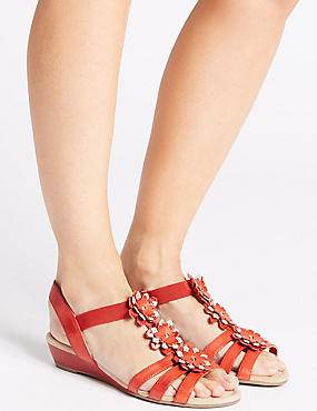 Wide Fit Leather Flower Sandals, RED, catlanding